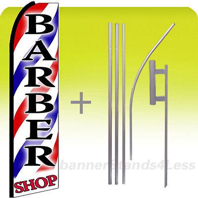 BARBER SHOP - Swooper Flag 15' Kit Feather Banner Sign - (stripes, red SHOP) bq