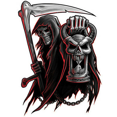 negro y gris temporary tattoo grim reaper w hour glass skull bone scythe ebay. Black Bedroom Furniture Sets. Home Design Ideas