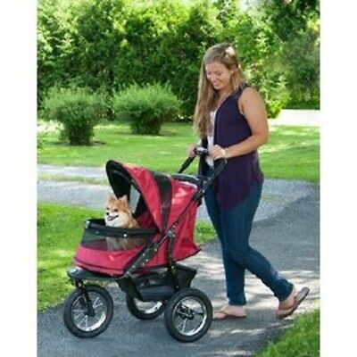 Pet Stroller 3-Wheel Jogger No Zip Dog Cat Carrier Storage Basket Travel RED