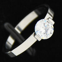 Stainless Steel & AUSTRIAN Crystal Solitaire Ring Sz 8
