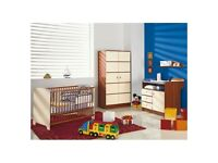 baby nursery furniture set, 4 pieces- wardrobe, cot bed, chest of drawers with changer, wall shelf