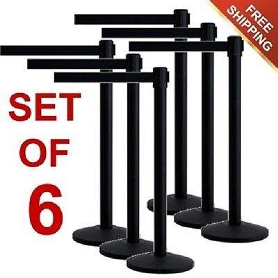 6 Pcs New Retractable Stanchions Crowd Control Black Belt Posts Queue Barrier
