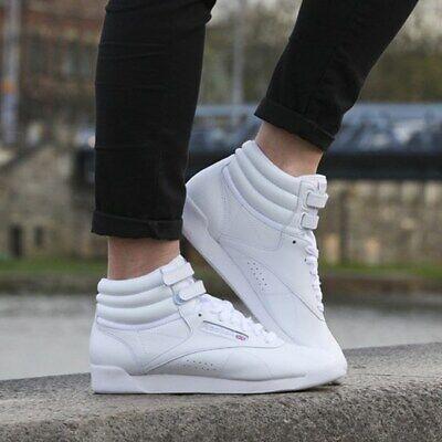 REEBOK FREESTYLE HI White/Silver Leather Hi-Top Lifestyle Women's Shoes Size 9.5