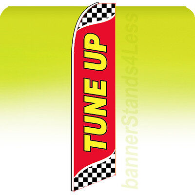 Tune Up Swooper Flag Feather Flutter Banner Sign 11.5 Tall - Checkered Rb