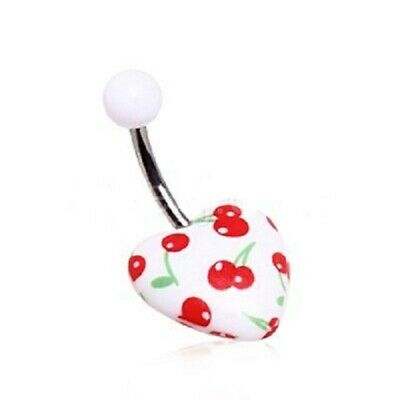 Acrylic Cherry Print Heart Navel Ring