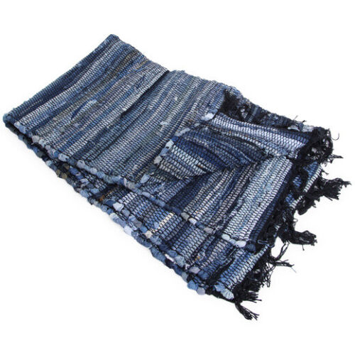 "Recycled Blue Jean Denim 30"" x 50"" Rag Rug Chindi Cotton Throw Rug Bohemian Boho"