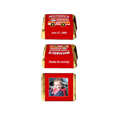 Firefighter Birthday Party (30 Fireman Firefighter Fire Truck Birthday Party Personalized Nugget Labels)