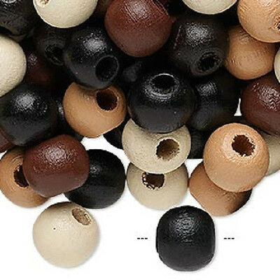 8044NB Wood Beads Mix, Brown Black White, 10mm, hand-cut round - 100 Qty  - Wood Beads Bulk