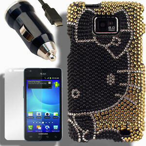 Bling Case+Screen Protector for Samsung Galaxy S II 2 SGH-i777 AT&T Cover Skin