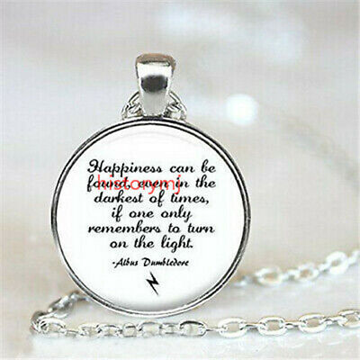 Harry Potter Inspired Silver Pendant Necklace Albus Dumbledore Quote Happiness -