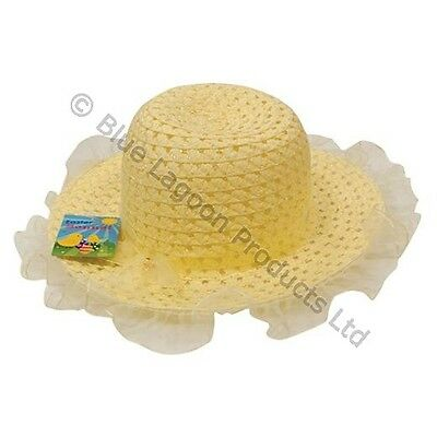 Easter Bonnet Hat Girls Ribbon Yellow Egg Hunt Kids Children Party