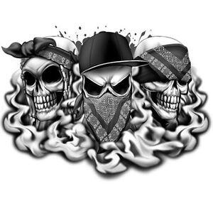 best of skulls temporary tattoo see no hear no speak no evil og skulls ebay. Black Bedroom Furniture Sets. Home Design Ideas
