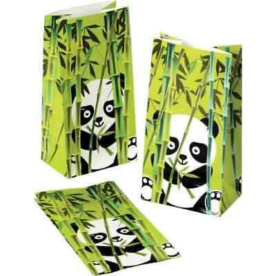 12 Bamboo Panda Bear Paper Bags Kid Birthday Party Gift Goody Loot Treat -