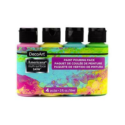 DecoArt Americana Multi-Surface Acrylic Paint Pouring Pack 4pcs Decoart Americana Acrylic Paints