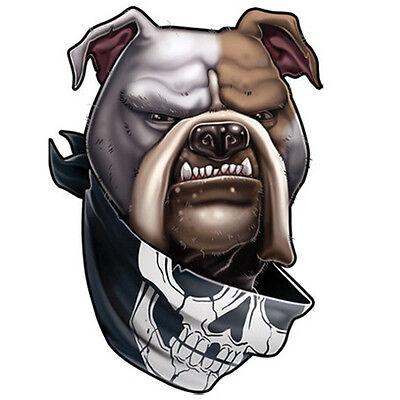 """Giant Tattoos"" Temporary Tattoo, American Bulldog Wearing Bandanna w Skull, Dog"