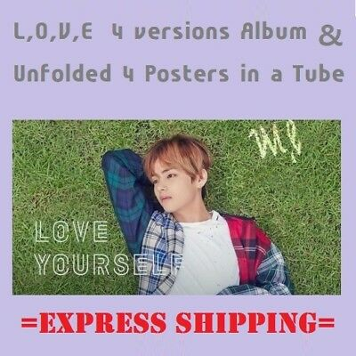 BTS Bangtan LOVE YOURSELF Her 5th Mini Album L+O+V+E Set+Unfolded Poster EXPRESS
