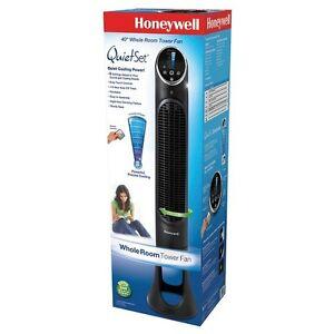 "Honeywell Quiet Set 8-Speed Oscillating Tower Fan 40"" Black  Mod"