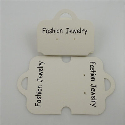 50x White Paper Bracelet Necklace Earring Packaging Display Hanging Card