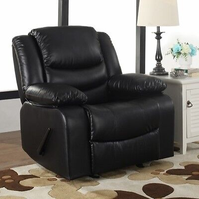 Black Oversized Leather Rocker Recliner Arm Chair Recliners