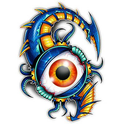 Laser  Temporary Tattoo  Blue Bio Mechanical Eye  Shiny Laser Foil  Made In Usa