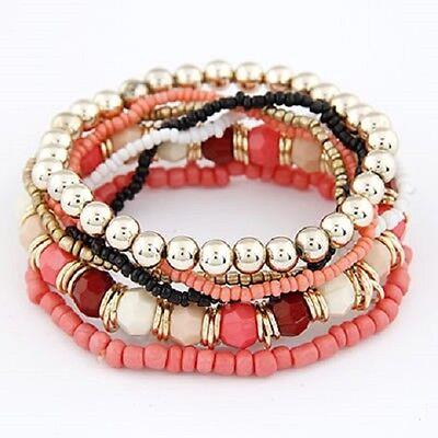 Armband Set Perlen Armbandset Vintage Boho Modeschmuck Blogger Indi Rot