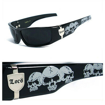Locs Mens Cholo Biker Sunglasses - Black (Skull) (Locs Mens Cholo Biker Sunglasses)