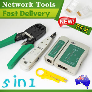RJ45 RJ11 RJ12 Cat5e 6 LAN Phone Data Network TOOL KIT+Modular Plug+Cable Tester