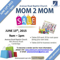 Cambridge Mom 2 Mom Sale- June 13th, 9am-1pm TABLES AVAILABLE!
