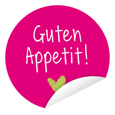 Aufkleber 'Guten Appetit!' Farbwahl 24 Stück (4 cm) Hochzeit Essen Feier DIY ()