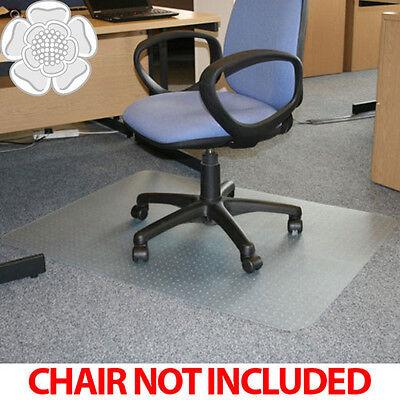 JVL Office Chair Desk Mat Rectangular Carpet Protector 90x120cm PVC with Grips