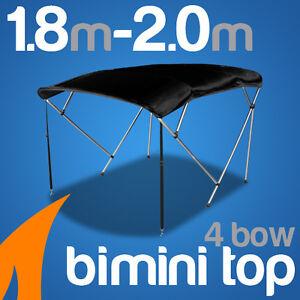 4 Bow 1.8-2.0m Black Boat Bimini Top Canopy Cover w/ Rear Poles & Sock