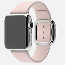 Apple Watch !! MAY !! 38mm Stainless Steel Case with Soft Pink Modern Buckle