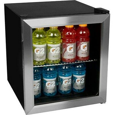 Compact 62 Can Stainless Steel Beverage Center, Mini Glass Door Refrigerator