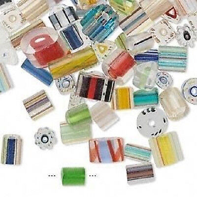 9699GB  Bead Mix Cane Glass, 3x3mm-28x5mm Small to Large,  1 oz