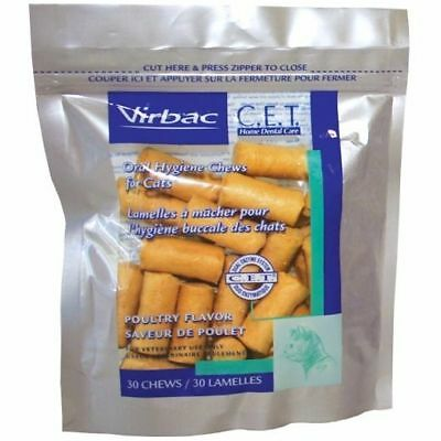 Virbac Cat Chews (CET Enzymatic Oral Hygiene Chews For Cats 30ct Poultry Flavor )