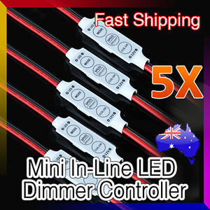 5X LED Strip Light Mini Dimmer 12V 3528 5050 With On/Off Switch Fade Speed Modes