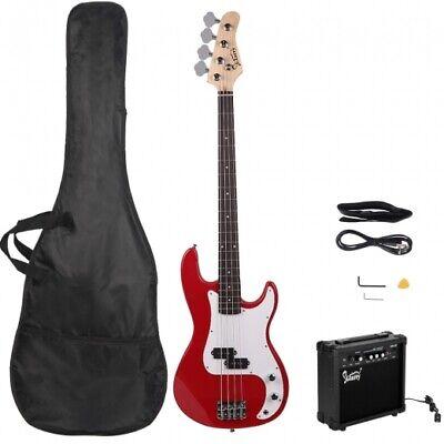 Glarry GP Electric Bass Guitar Red w/ 20W Amplifier
