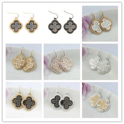 Hollow Out Quatrefoil Clover Heart  Earrings for Women Fashion Christmas Glifts
