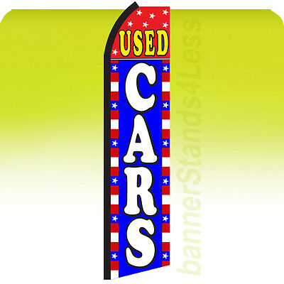 Used Cars Swooper Flag Feather Flutter Banner Sign 11.5 Auto - Stars Stripes Bz