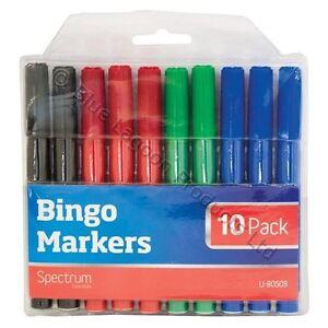 10-x-Bingo-Rotuladores-Marcadores-PENS-Tenido-CONJUNTO-NEGRO-FIELTRO-VERDE