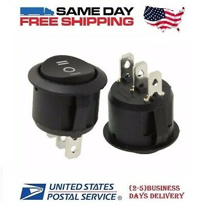 2 x SPDT ~ Single Pole Double Throw 3-Pin (ON-OFF-ON) 10a Round Rocker Switches