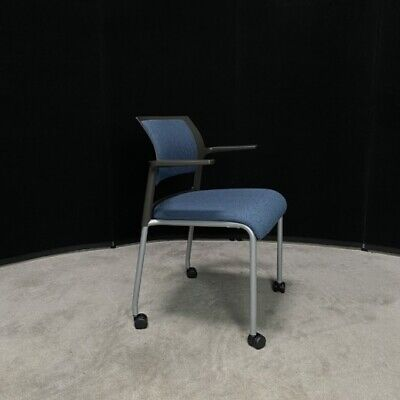Black Stacking Chair Blue Seat
