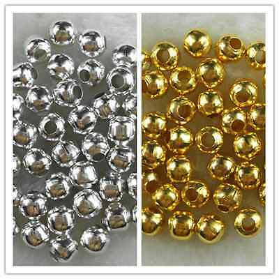 Metal Plated Charm - Gold/Silver Plated Metal Charm Findings Spacer Loose Beads 3mm 4mm 5mm 6mm