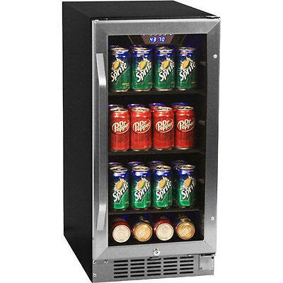 80 Can Undercounter Beverage Cooler Refrigerator - Compact Built-In Mini Fridge
