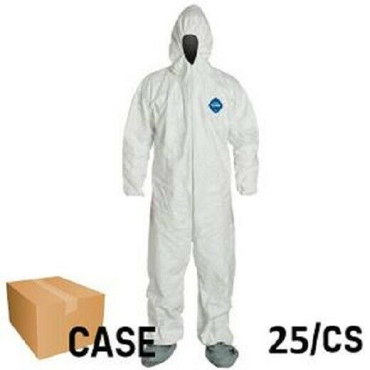 Dupont TY122S 400 Tyvek Disposabl Coverall Bunny Suit W/Hood & Boots CASE OF 25 Business & Industrial