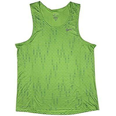 Nike Men's large Dri Fit Running Tank Shirt Zigzag Green/Black 826051 702  Miler