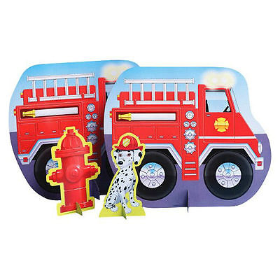 Firefighter Birthday Party Stand Up Centerpiece Party Table Decorations (Firefighter Centerpieces)