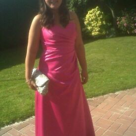 Pink full length prom dress size 12-14
