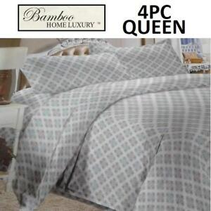 NEW BAMBOO 4PC BED SHEET SET QUEEN HAPS3500Q 225073143 HOME LUXURY 3500 THREAD COUNTS WRINKLE FREE BEDDING BEDROOM