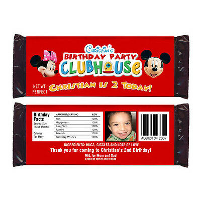 12 Mickey and Minnie Mouse Birthday Party Personalized Candy Wrappers - Minnie And Mickey Party Supplies